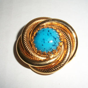 Vintage Turquoise Type Gold Tone Brooch